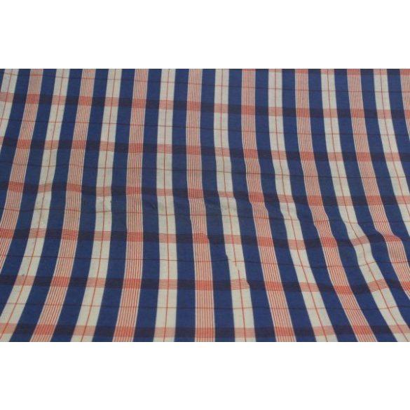 kék-piros kockás pamutanyag