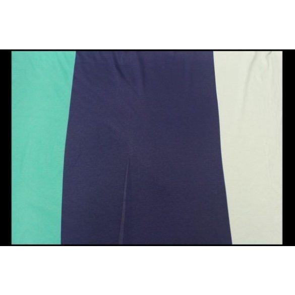 Kék-zöld-fehér csíkos mercerizált pamutanyag