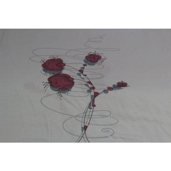 Világoskék alapon bordó virágos pamutanyag