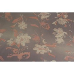 Halvány lila alapon lazac színű virágos pamutanyag