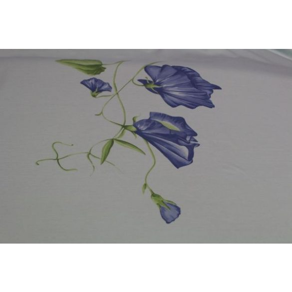 Világoskék alapon kék virágos pamutanyag