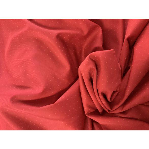 Piros alapon fehér tűpöttyös rugalmas hideg jersey anyag