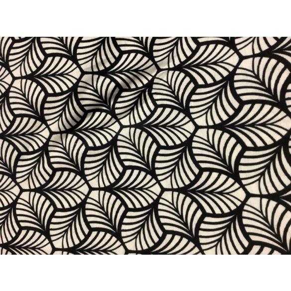 Fekete fehér levélmintás rugalmas anyag