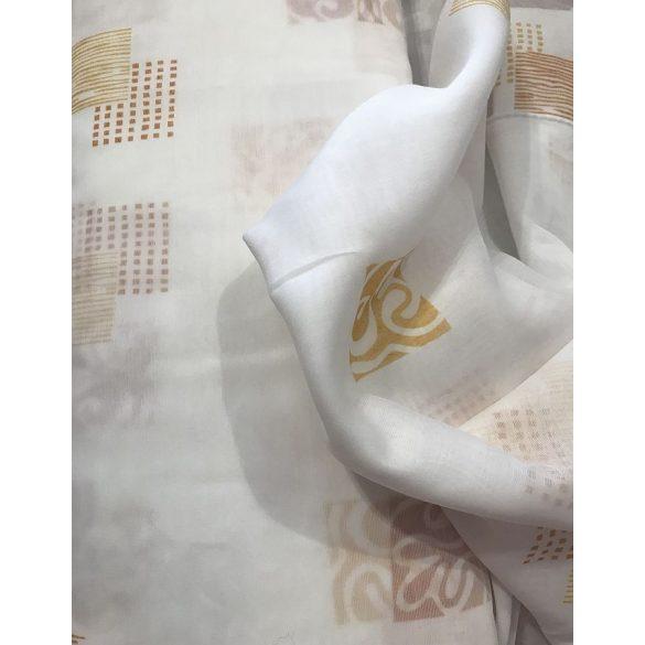 Fehér alapon barna mintás sablé függöny, 280cm magas