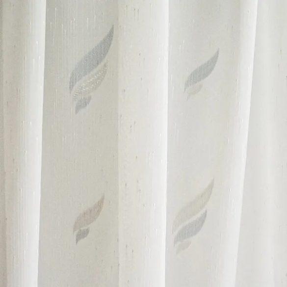 1265 tört fehér alapon mintás voile függöny, ekrü és szürke mintával kapható, 180cm, 300cm magas