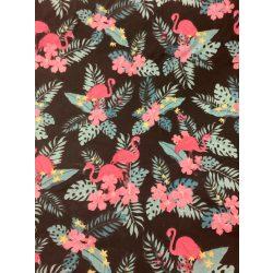 Fekete alapon rózsaszínű flamingós vászon anyag