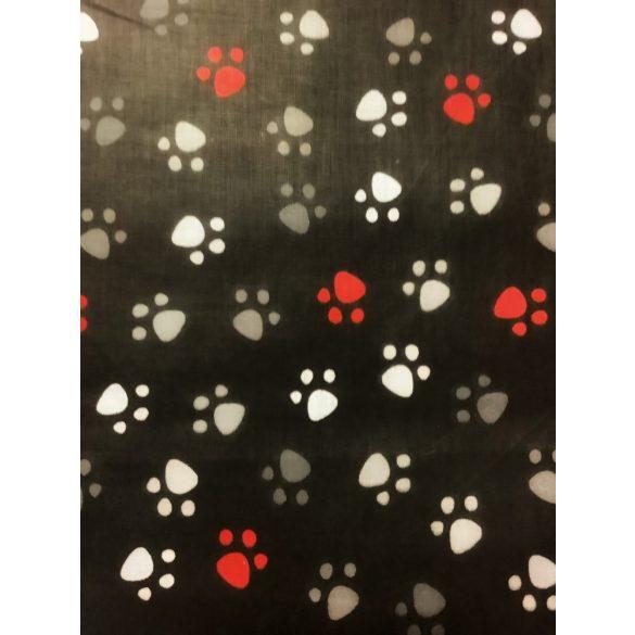 Fekete alapon mancsos pamut vászon