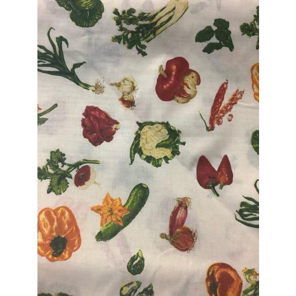 Fehér alapon zöldség mintás pamutvászon anyag