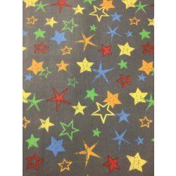 Szürke alapom színes csillagos pamutvászon anyag